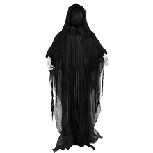 Haunted Hill Farm Life-Size Animatronic Reaper, Indoor/Outdoor Halloween Decoration, Light-up Face, Poseable, Battery-Operated, HHRPR-4FLSA