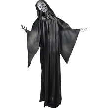 Haunted Hill Farm Life-Size Animatronic Reaper, Indoor/Outdoor Halloween Decoration, Flashing White Eyes, Poseable, Battery-Operated, HHRPR-5FLSA
