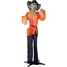 Haunted Hill Farm Life-Size Animated Skeleton Scarecrow Prop w/ Rotating Head for Indoor or Outdoor Halloween Decoration, Battery-Operated, HHSCR-1FLSA