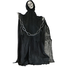 Haunted Hill Farm Life-Size Animated Talking Skeleton Prop w/ Moving Mouth for Indoor or Outdoor Halloween Decoration, Battery-Operated, HHSKEL-2FLS