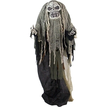 Haunted Hill Farm Life-Size Animatronic Reaper, Indoor/Outdoor Halloween Decoration, Flashing Red Eyes, Poseable, Battery-Operated, HHSKEL-6FLSA