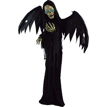 Haunted Hill Farm Life-Size Animatronic Reaper, Indoor/Outdoor Halloween Decoration, Flashing Blue Eyes, Poseable, Battery-Operated, HHWINGSKEL-1FLSA