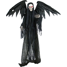 Haunted Hill Farm Life-Size Animatronic Reaper, Indoor/Outdoor Halloween Decoration, Red Flashing Eyes, Poseable, Battery-Operated, HHWINGSKEL-3FLSA