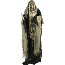 Haunted Hill Farm Life-Size Animatronic Witch, Indoor/Outdoor Halloween Decoration, Light-up White Eyes, Poseable, Battery-Operated, HHWITCH-10FLSA