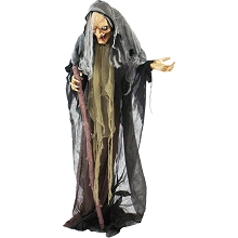 Haunted Hill Farm Life Size Animatronic Witch, Indoor/Outdoor Halloween Decoration, Eyes Light Up Red, Poseable, Battery-Operated, HHWITCH-13FLSA