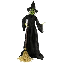 Haunted Hill Farm Life-Size Animatronic Witch, Indoor/Outdoor Halloween Decoration, Talking, Poseable, Battery-Operated, HHWITCH-14FLSA