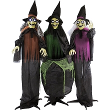 Haunted Hill Farm Life-Size Animatronic Witches, Indoor/Outdoor Halloween Decoration, Light-up Eyes, Poseable, Battery-Operated, HHWITCH-15FLS