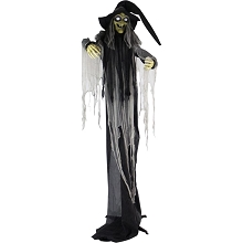 Haunted Hill Farm Life-Size Animatronic Witch, Indoor/Outdoor Halloween Decoration, Light-up White Eyes, Poseable, Battery-Operated, HHWITCH-16FLSA
