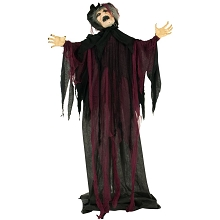 Haunted Hill Farm Life-Size Animatronic Witch, Indoor/Outdoor Halloween Decoration, Light-up Colorful Eyes, Poseable, Battery-Operated, HHWITCH-18FLSA