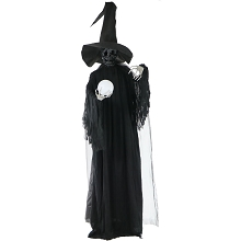 Haunted Hill Farm Life-Size Phantom Witch w/Battery-Operated Multi-Color Crystal Ball & Strobe Light for Indoor / Outdoor Halloween Decoration, HHWITCH-2FL