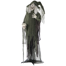 Haunted Hill Farm Life-Size Animated Talking Witch Prop w/ Skull & Rotating Body for Indoor and Outdoor Halloween Decoration, Battery-Operated, HHWITCH-4FLSA