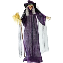 Haunted Hill Farm Life-Size Animated Talking Witch w/ Broomstick & Rotating Body for Indoor or Outdoor Halloween Decoration, Battery-Operated, HHWITCH-5FLSA