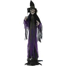 Haunted Hill Farm Life-Size Skeleton Witch Prop w/ 6-Function Multi-Color Light for Indoor or Outdoor Halloween Decoration, Battery-Operated, HHWITCH-6FL