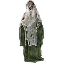 Haunted Hill Farm Life-Size Animated Talking Evil Witch Prop w/ Rotating Head for Indoor or Outdoor Halloween Decoration, Battery-Operated, HHWITCH-7FLSA