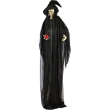 Haunted Hill Farm Life-Size Animatronic Witch, Indoor/Outdoor Halloween Decoration, Flashing Red Eyes, Poseable, Battery-Operated, HHWITCH-8FLS