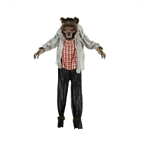 Haunted Hill Farm Life-Size Animatronic Werewolf, Indoor/Outdoor Halloween Decoration, Red Flashing Eyes, Poseable, Battery-Operated, HHWOLF-1FLSA