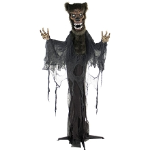Haunted Hill Farm Life-Size Animatronic Werewolf, Indoor/Outdoor Halloween Decoration, Blue Flashing Eyes, Poseable, Battery-Operated, HHWOLF-2FLSA