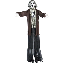 Haunted Hill Farm Life-Size Animatronic Zombie, Indoor/Outdoor Halloween Decoration, Flashing Eyes, Sounds, Battery-Operated, HHZOMB-1FLSA