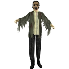 Haunted Hill Farm Life-Size Animatronic Zombie, Indoor/Outdoor Halloween Decoration, Light-up Colorful Eyes, Poseable, Battery-Operated, HHZOMB-2FLSA
