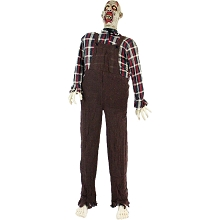 Haunted Hill Farm Life-Size Animatronic Zombie, Indoor/Outdoor Halloween Decoration, Red Flashing Eyes, Moaning, Battery-Operated, HHZOMB-3FLSA