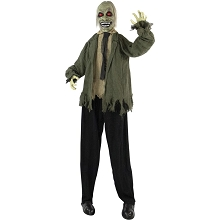 Haunted Hill Farm Life-Size Animatronic Zombie, Indoor/Outdoor Halloween Decoration, Red Flashing Eyes, Poseable, Battery-Operated, HHZOMB-4FLSA