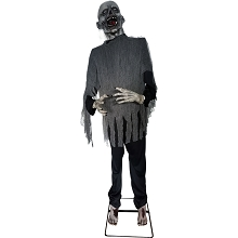Haunted Hill Farm Life-Size Animatronic Zombie, Indoor/Outdoor Halloween Decoration, Lurches Side to Side, Poseable Arms, HHZOMB-5FLSA