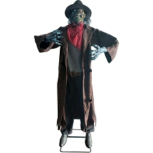 Haunted Hill Farm Life-Size Animatronic Cowboy Zombie, Indoor/Outdoor Halloween Decoration, Moves Side to Side, Talks, Red Eyes, HHZOMB-7FLSA