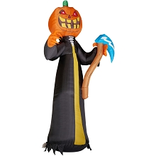 Haunted Hill Farm 10-Ft. Inflatable Jack O'Lantern Reaper with Moving Head and Lights, HIJOL101-LA