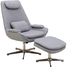 Hanover Westin Mid-Century Modern Scoop Lounge Chair and Ottoman in Gray, HLC0203