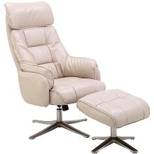 Hanover Parker PU Leather Office Chair with Ottoman in Cream, HLC0205