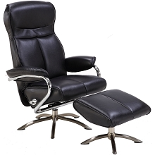 Hanover Paterson Swivel Lounge Chair with Ottoman in Black, HLC0207