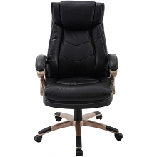 Hanover Atlas Executive Office Chair with Upholstered Faux-Leather Seat in Black and Copper-Wheeled Base, HOC0011