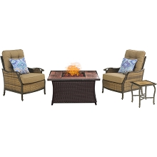 Hudson Square Chat Set and Woven Fire Pit with Woodgrain Tile Top - HUDSQ3PCFP-TN