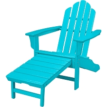 All-Weather Contoured Adirondack Chair with Hideaway Ottoman in Aruba - HVLNA15AR