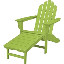 All-Weather Contoured Adirondack Chair with Hideaway Ottoman in Lime - HVLNA15LI
