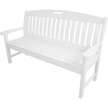 Avalon All-Weather 60 In. Porch Bench in White - HVNB60WH