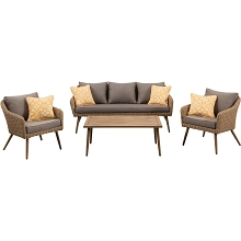 Mod Furniture Jaden 4-Piece Modern Outdoor Conversation Set with Hand Woven All-Weather Wicker and Stylish Mid Century Faux Wood Accents, JADEN4PC-GRY