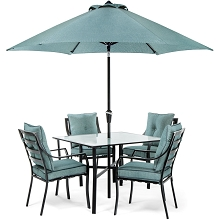 Lavallette 5PC Dining Set in Ocean Blue with Table Umbrella and Stand - LAVDN5PC-BLU-SU