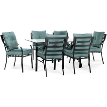 Lavallette 7PC Outdoor Dining Set in Ocean Blue - LAVDN7PC-BLU
