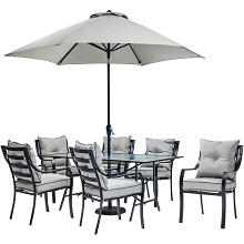 Lavallette 7PC Dining Set with 9-Ft. Table Umbrella - LAVDN7PC-SU