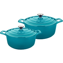 La Cuisine 4 Pc. Round Cast Iron Casserole Set with Enamel Finish in High Gloss Teal - LC 2375