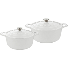 La Cuisine 4 Pc. Round Cast Iron Casserole Set with Enamel Finish in White - LC 2380