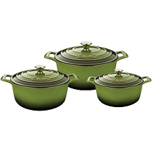 La Cuisine PRO 6 Pc. Round Cast Iron Casserole Set with Enamel Finish in Green - LC 2450MB