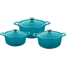 La Cuisine PRO 6 Pc. Round Cast Iron Casserole Set with Enamel Finish in High Gloss Teal - LC 2475MB