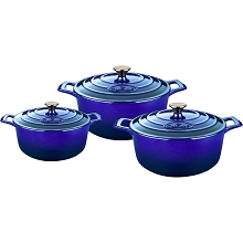 La Cuisine 6 Pc. Round Cast Iron Casserole Set with Enamel Finish in High Gloss Sapphire - LC 2479