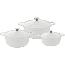 La Cuisine 6 Pc. Round Cast Iron Casserole Set with Enamel Finish in White - LC 2480