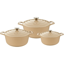 La Cuisine PRO 6 Pc. Round Cast Iron Casserole Set with Enamel Finish in Cream - LC 2485MB