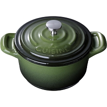 La Cuisine Mini Round 4 In. Cast Iron Casserole in Green - LC 2550