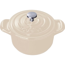 La Cuisine Mini Round 4 In. Cast Iron Casserole in Cream - LC 2585