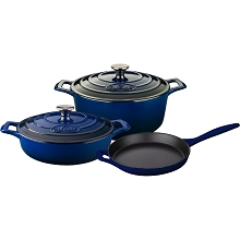 La Cuisine 5PC Enameled Cast Iron Cookware Set in Blue (Round Casserole) - LC 2670